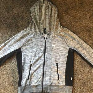 PINK Victoria's Secret Jackets & Coats - Pink VS heather gray & black zip-up hoodie (L) W
